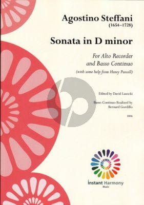 Steffani Sonata D-Minor Treble Recorder and Basso Continuo (Edited by David Lasocki) (Basso Continuo by Bernard Gordillo)
