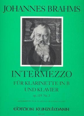 Brahms Intermezzo Op.119 No.3 C-Dur Klarinette in B und Klavier (herausgegeben von Nicolai Popov)