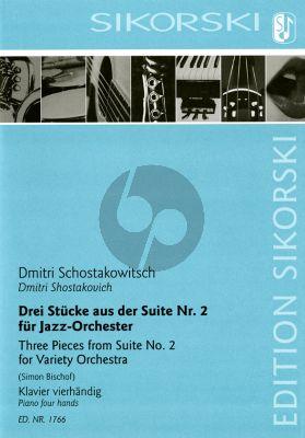 Shostakovich 3 Stücke aus der Suite No. 2 für Jazz-Orchester für Klavier vierhändig (arr. Simon Bischof)