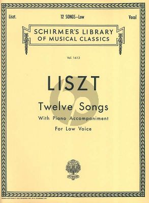 Liszt 12 Songs Low Voice and Piano (Aldrich)