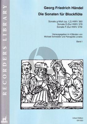 Handel Sonaten Band 1 für Blockflöte und Bc (HWV 360 - 378 - 378r) (Michael Schneider and Panagiotis Linakis)