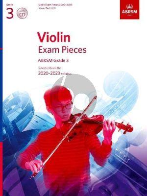 Album Violin Exam Pieces 2020-2023, ABRSM Grade 3 Solo Part with Piano and Cd