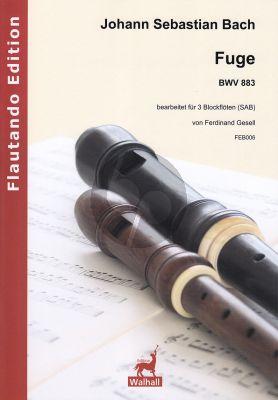 Bach Fuge BWV 883 3 Blockflöten (SAB) (arr. Ferdinand Gesell)
