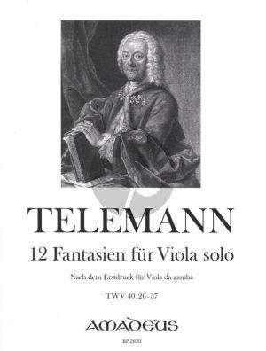Telemann 12 Fantasien · TWV 40:26-37 (1735) Viola solo (eingerichtet nach dem Erstdruck für Viola da gamba) (Viacheslav Dinerchtein)