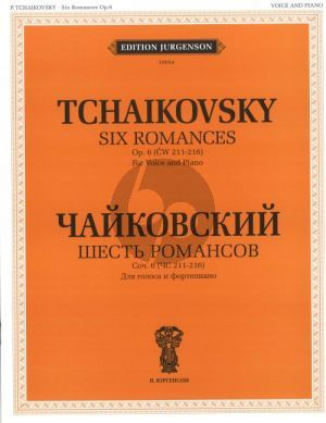 Tchaikovsky 6 Romances Op.60 Voice and Piano (Russian/English) (With transliterated text)