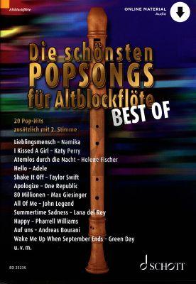Die schönsten Popsongs für Alt-Blockflöte BEST OF 1 - 2 Altblockflöten (Buch mit Audio online) (arr. Uwe Bye)