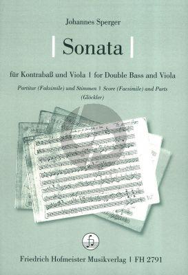 Sperger Sonata Kontrabass und Viola (Partitur (Facs.) mit Stimmen) (Tobias Glöckler)