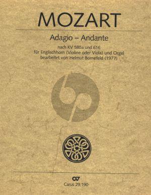 Mozart Adagio - Andante nach KV 580a und 616 English Horn [Violine/]Viola] und Orgel (Herausgegeben von Helmut Bornefeld) (enthalt weiterhin ein Alleluja von Mozart)