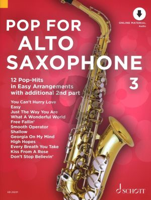 Pop for Alto Saxophone (12 Pop-Hits in Easy Arrangements) Vol.3 (1 - 2 Saxophones) (Bk-Online Download) (edited by Uwe Bye)