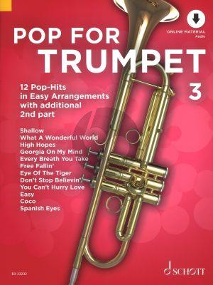 Pop For Trumpet (12 Pop-Hits in Easy Arrangements) Vol.3 (1 - 2 Trumpets) (Bk-Online Download) (edited by Uwe Bye)