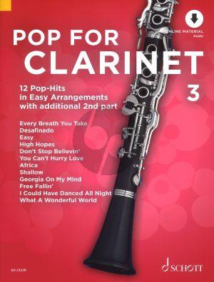 Pop For Clarinet (12 Pop-Hits in Easy Arrangements) Vol.3 (1 - 2 Clarinets) (Bk-Online Download) (edited by Uwe Bye)