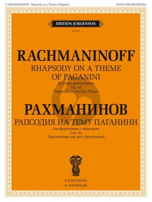 Rachmaninoff Rhapsody on a theme by Paganini Op.43 2 Piano's (reduction by composer)