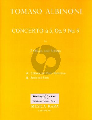 Albinoni Concerto a 5 in C-Major Op.9 No.9 for 2 Oboes-Strings and Bc (Score and Parts) (edited by Franz Giegling)