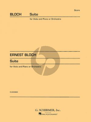 Bloch Suite for Viola (or Cello) and Orchestra (Study Score)