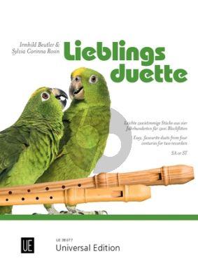 Lieblingsduette für 2 Blockflöten (SA/ST) (Leichte zweistimmige Stücke aus vier Jahrhunderten) (Arr. Sylvia Corinna / RosinIrmhild Beutler)