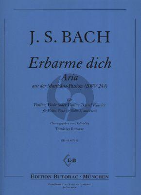 Bach Erbarme Dich Aria aus der Matthäus-Passion BWV 244 (Violine-Viola (oder Violine 2) und Klavier) (arr. Tomislav Butorac)