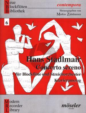 Stadlmair Concerto Sereno (1997) Flauto Dolce Contralto and Piano (Herausgegeben von Markus Zahnhausen)