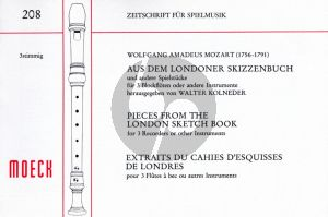 Mozart Aus dem Londoner Skizzenbuch und andere Spielstücke 3 Blockfloten (SAT) (Herausgegeben von Walter Kolneder) (Spielpartitur)