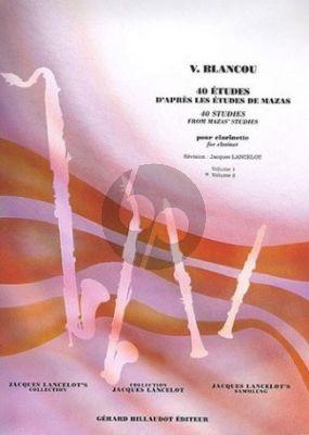 Blanco 40 Etudes d'Apres Mazas Volume 2 Clarinet (Jacques Lancelot)
