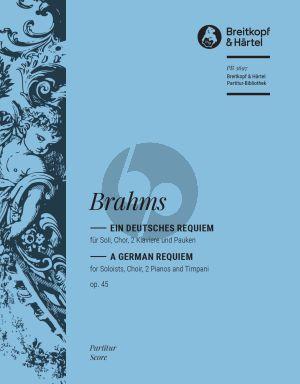 Brahms Ein deutsches Requiem Op. 45 Soli-Chor-2 Klavier und Pauken (Partitur) (arr. Heinrich Poos)