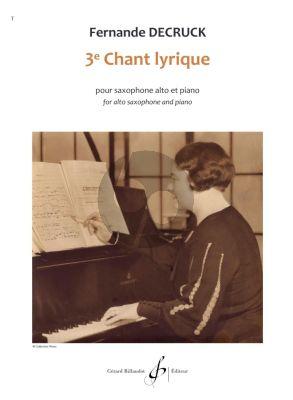 Decruck Chant Lyrique (3e) Alto Saxophone - Piano