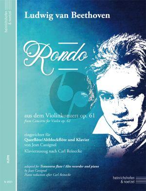 Beethoven Rondo (aus dem Violinkonzert op. 61) fur Querflote und Klavier (eingerichtet von Jean Cassignol - Klavierauszug nach Carl Reinecke) (Flöte (Altblockflöte) und Klavier)