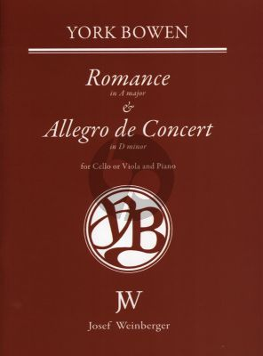 Bowen Romance A-major & Allegro de Concert d-minor Op. 21 No. 1 and 2 Cello (or Viola) and Piano