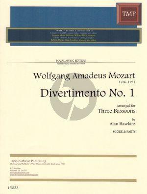 Mozart Divertimento No.1 F-Dur fur 3 Fagotte (Partitur und Stimmen) (Arr. Alan Hawkins)