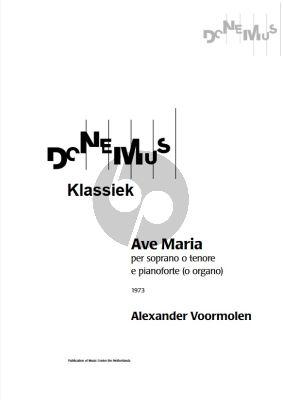 Voormolen Ave Maria for Soprano[Tenor] and Piano or Organ