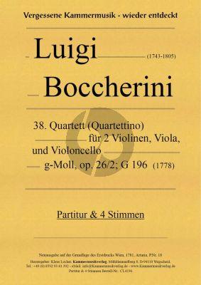 Boccherini Quartett (Quartettino) No.38 g-Moll Op.26 No.2 G.196 2 Violine, Viola und Violoncello (Partitur/Stimmen) (Neuausgabe Klaus Locher)
