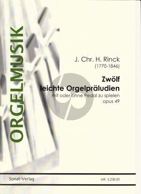 Rinck 12 leichte Präludien Op. 49 Orgel