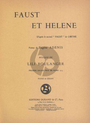 Boulanger Faust et Hélène Vocal Score (Tenor, Baritone, Mezzo-soprano, Piano)