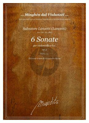 Lanzetti 6 Sonate Op. 5 Violoncello e Basso (Score/Parts) (Alessandro Bares)