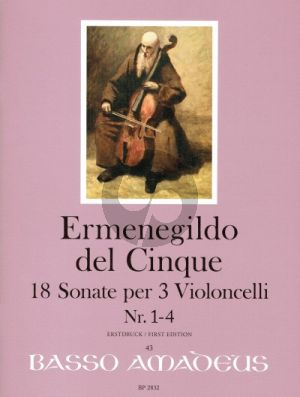 del Cinque 18 Sonate Band 1 No. 1 - 4 3 Violoncellos (Part./Stimmen) (Erik Harms)