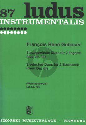 Gebauer 3 ausgewahlte Duos Op.44 fur 2 Fagotte (Herausgegeben von Johannes Wojciechowski)