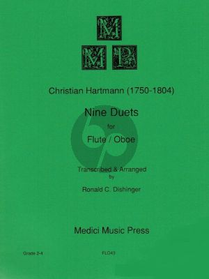 Hartmann Nine Duets Flute and Oboe (Playing Score) (Transcribed and arranged by Ronald C. Dishinger)