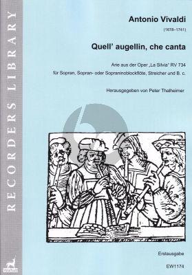 """Vivaldi Quell' augellin, che canta aus der Oper """"La Silvia"""" RV 734 für Sopran-Sopran- oder Sopraninoblockflöte-Streicher und Bc"""