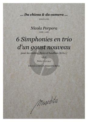 Porpora 6 Simphonies en trio d'en goust nouveau Op. 2 2 Violins (Fluten, Oboes) and Bc (Score/Parts) (edited by Alessandro Bares)