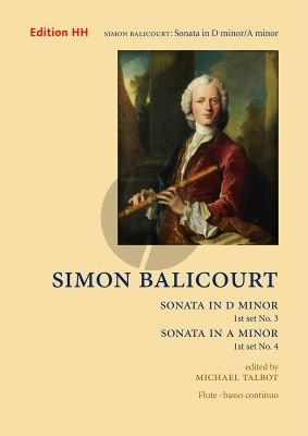 Balicourt Sonatas Set 1 Nos. 3 in D-minor and 4 in A-minor Flute and Bc (edited by Michael Talbot)
