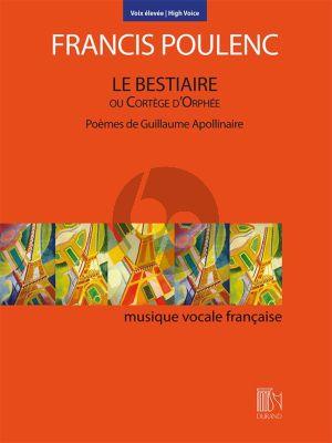 Poulenc Le Bestiaire ou Cortège d'Orphée High Voice and Piano (Poèmes de Guillaume Apollinaire)