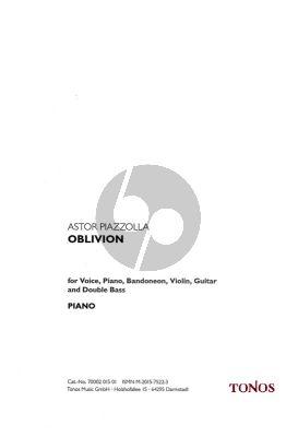 Piazzolla Oblivion fur Gesang, Klavier, Bandoneon, Violine, Gitarre und Kontrabass Instrumental Stimmen