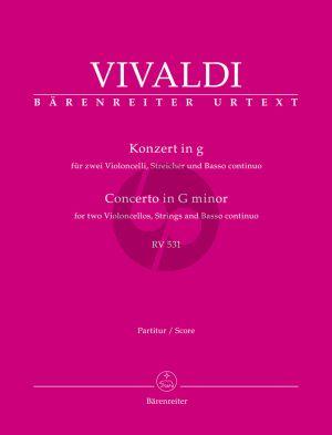 Vivaldi Concerto g-minor RV 531 for 2 Violoncellos, Strings and Basso continuo (Full Score) (edited by Bettina Schwemer)