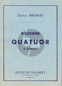 Milhaud Quatuor a Cordes No. 12 Op. 252 Partition de Poche