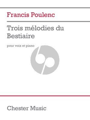 Poulenc Trois Mélodies du Bestiaire Voice and Piano