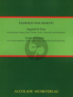 Zenetti Septett E-Dur Klarinette (A), Horn (E/F), Fagott, Violine, Viola, Violoncello, Kontrabass (Part./Stimmen)