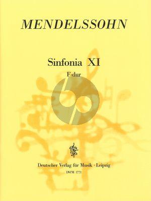 Mendelssohn Jugendsinfonie No. 11 F-dur Streichorchester (Partitur) (Hellmuth Christian Wolff)