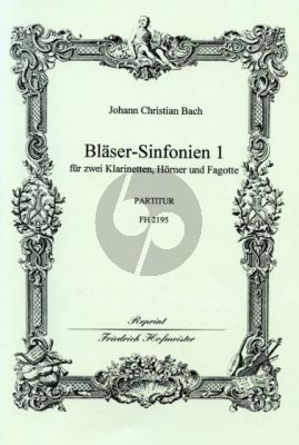 Bach 6 Sinfonien 1 (No.1 - 3) 2 Clar.- 2 Horns[Bb]- 2 Bns. (Score) (edited by Fritz Stein)
