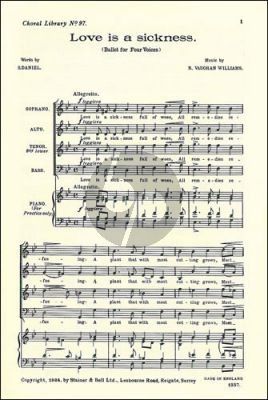 Vaughan Williams Love is a sickness SATB (with Piano for practice only)
