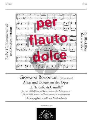 """Bononcini Arien und Duette aus der Oper """"Il Trionfo di Camilla"""" 2 Altblockflöten-Bc (Franz Müller-Busch)"""