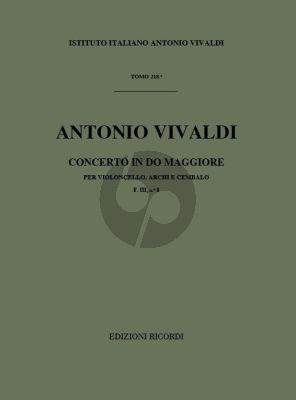Vivaldi Concerto C-major RV 398 F.III n.8 Violoncello-Strings-Bc (Score) (edited by G. F. Malipiero)